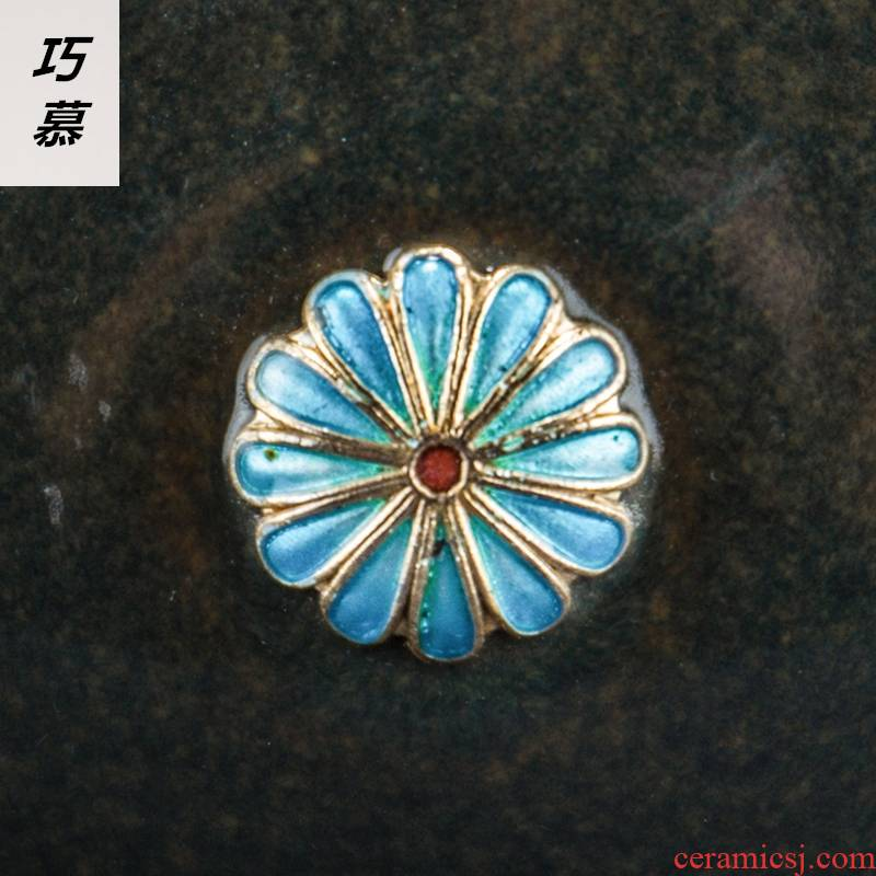 Qiao mu landscape ceramic cloisonne in hot tea to wash to large water jar barrels writing brush washer to use kung fu tea accessories