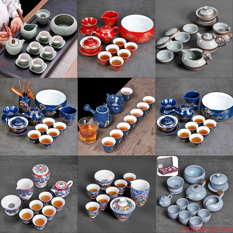 Lateral ceramic teapot tea service office to receive a visitor of a complete set of high - grade household six kung fu tea cups to use suit