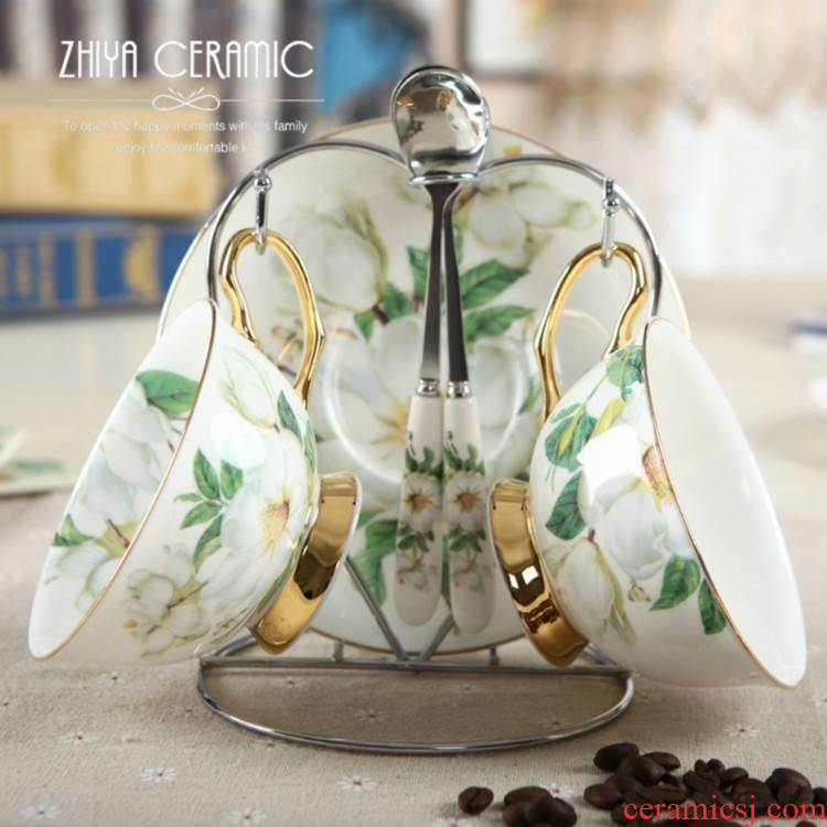 Qiao mu ideas European - style coffee cup set ceramic high - grade 2 sets of ipads China coffee cups and saucers spoon with shelves