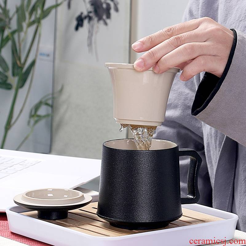 Qiao mu office cup of black tea separation ceramic one cup of tea cups with cover filtration keller large capacity