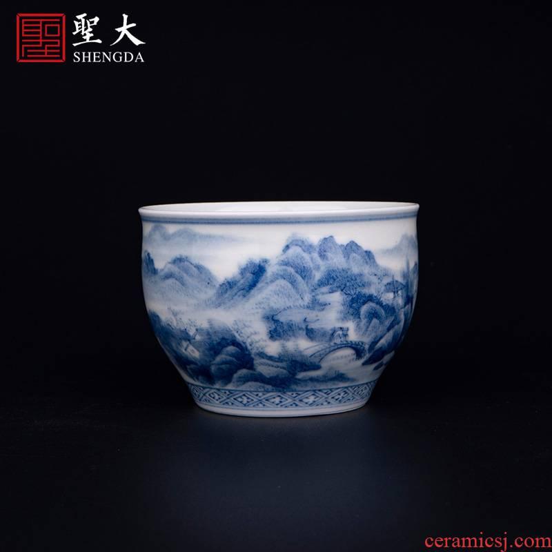 "The big blue and white cylinder cup ""nanshan implicit firewood"" jingdezhen ceramic manual hand - made tea sample tea cup kung fu tea cups"