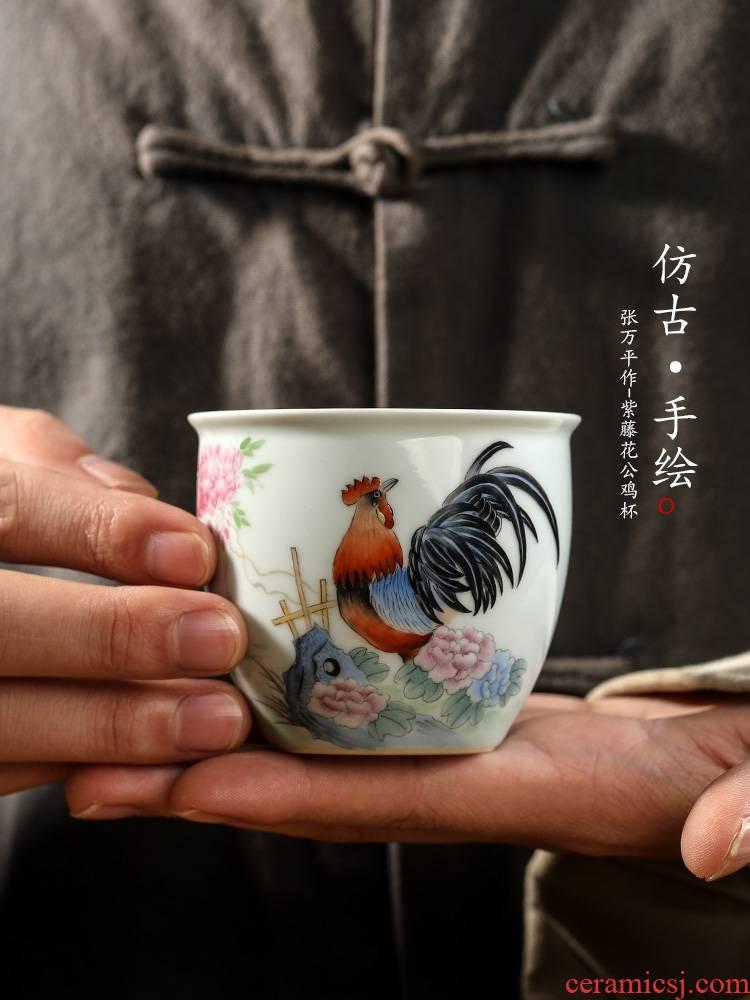 Pure manual kongfu master cup single CPU jingdezhen ceramic retro hand - made big chicken sample tea cup tea urn