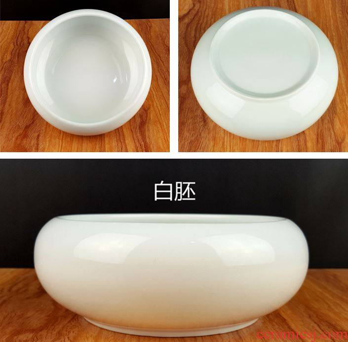 Water lily hydroponic plant pot pottery meaty hand draw pot refers to flower pot without hole ~ money plant bowl lotus basin grass cooper