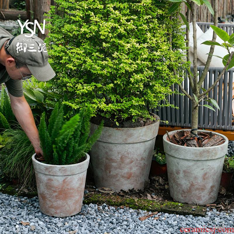 Royal three coarse pottery mud garden flowerpot legend garden hotel decoration restoring ancient ways more kind of saplings do old red pot in the meat
