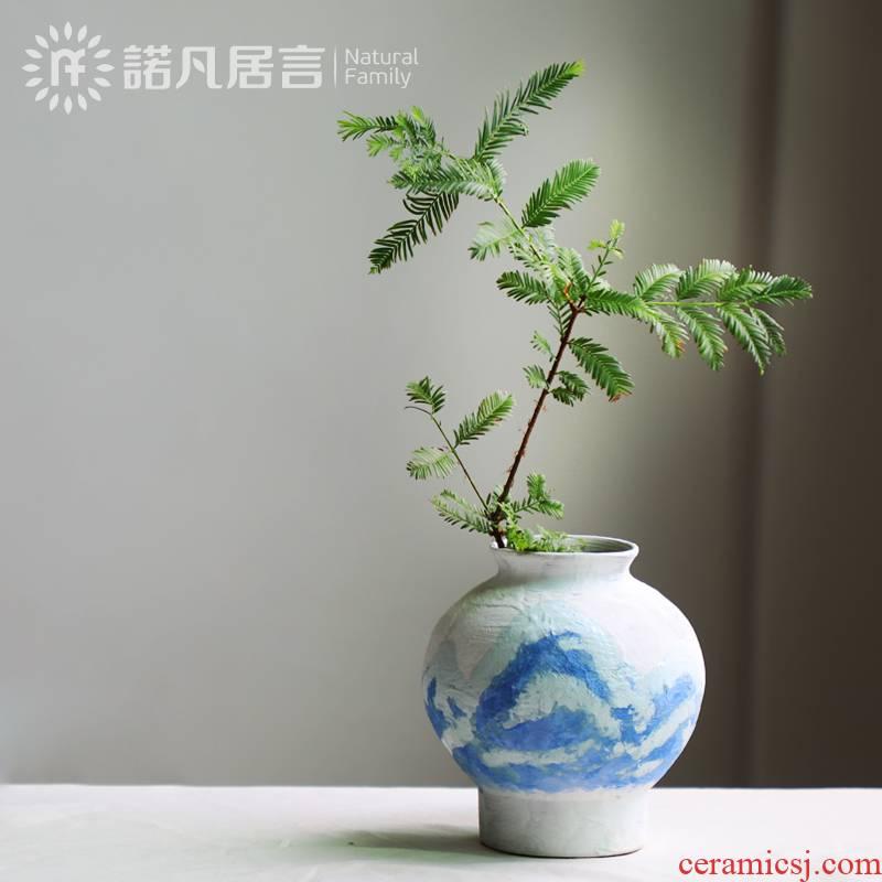 Coarse ceramic vase bearing arrangements with Japanese style restoring ancient ways home stay hotel wabi-sabi zen POTS furnishing articles teahouse