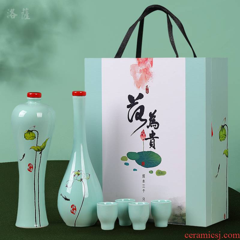 An empty bottle of jingdezhen ceramic pot 1 catty creative gift liquor home wine sealed small jars wine gift box