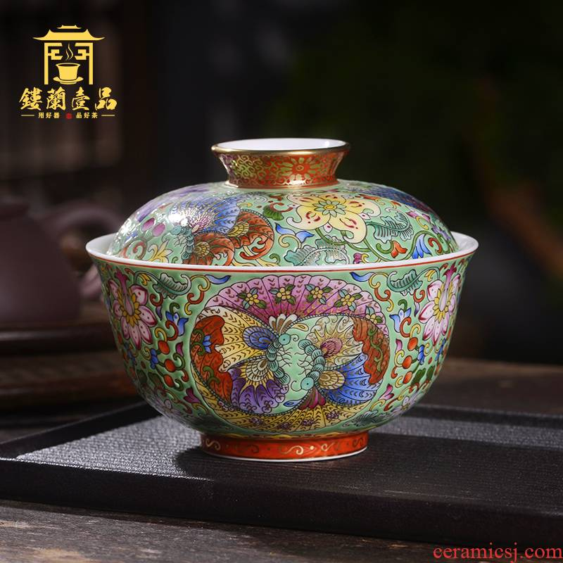 Jingdezhen ceramic all hand made enamel butterfly bound branch 3 tureen large cups domestic tea bowl with tureen