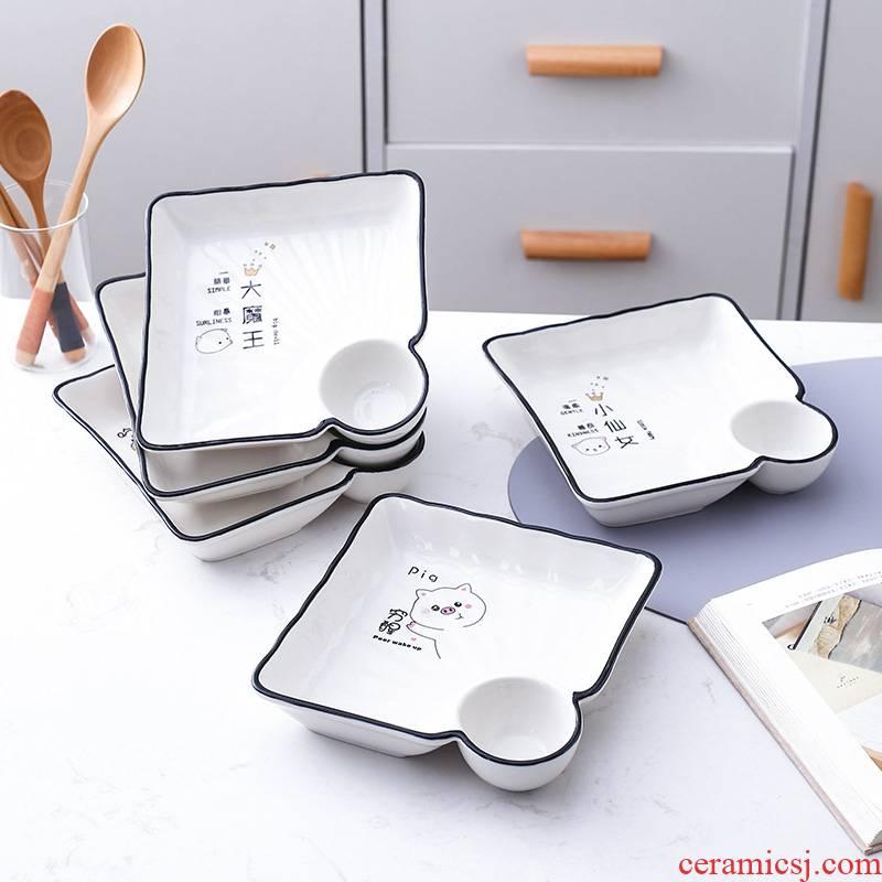 Cold dishes with delicate shrimp dish web celebrity home 2021 new ceramic dumplings dribbling vinegar sauce dish bowl dish