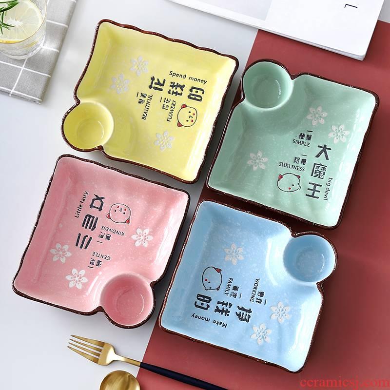 The New creative cartoon dumplings dribbling vinegar disc ceramic net red disc Japanese - style tableware household square dumplings plate tray