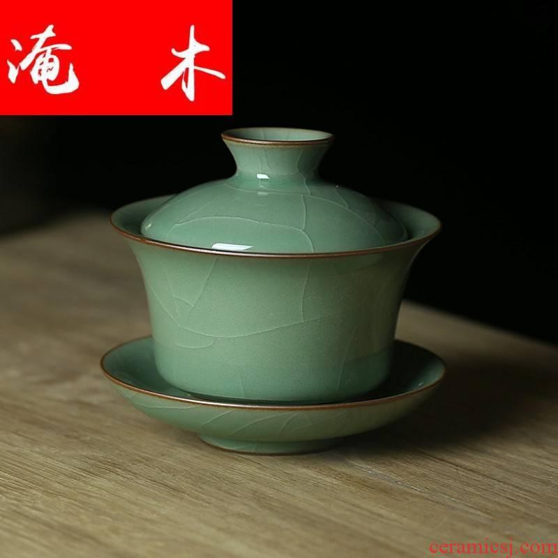 Submerged wood tureen only three bowl of large - sized ceramic kung fu tea tea bowl upset to make tea cup way