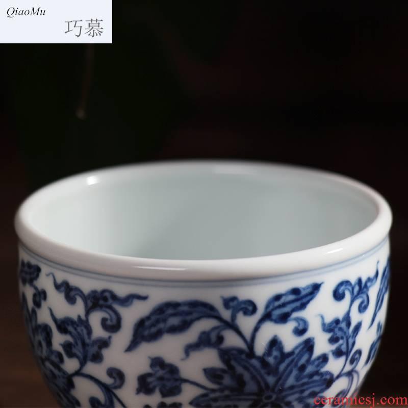 Qiao mu JYD jingdezhen single CPU yongzheng designs of blue and white tie up branch cylinder cup hand draw archaize ceramic tea cups