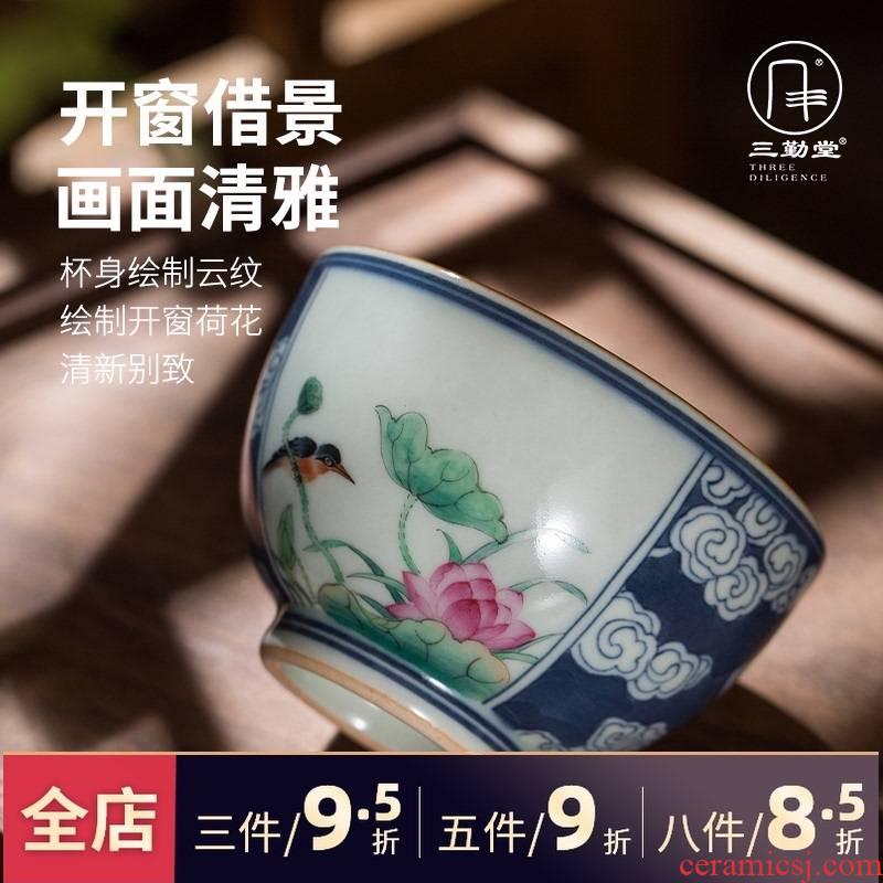 The three frequently teacups hand - made Windows blue master cup single CPU jingdezhen ceramic kung fu tea pu - erh tea sample tea cup