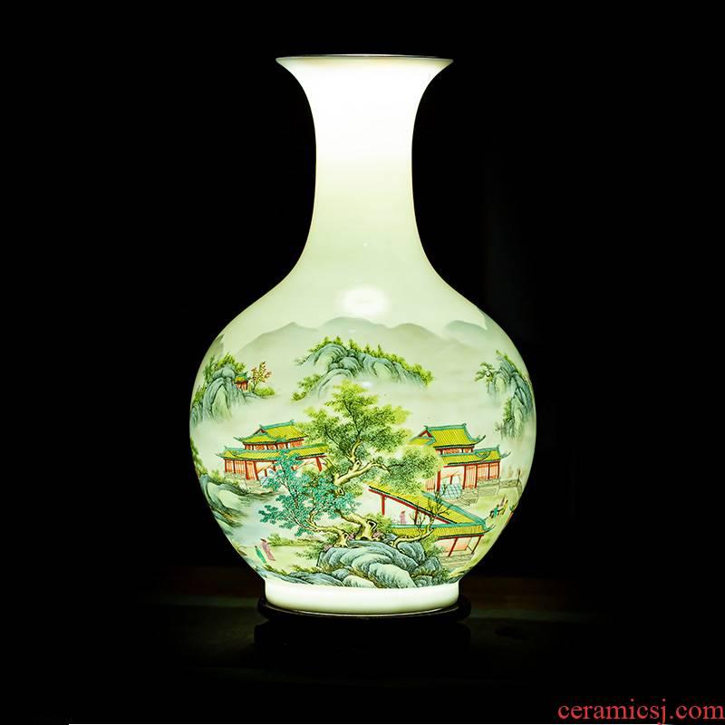 Jingdezhen porcelain ceramic powder enamel thin foetus landscape vases, flower arrangement sitting room adornment handicraft furnishing articles of Chinese style household