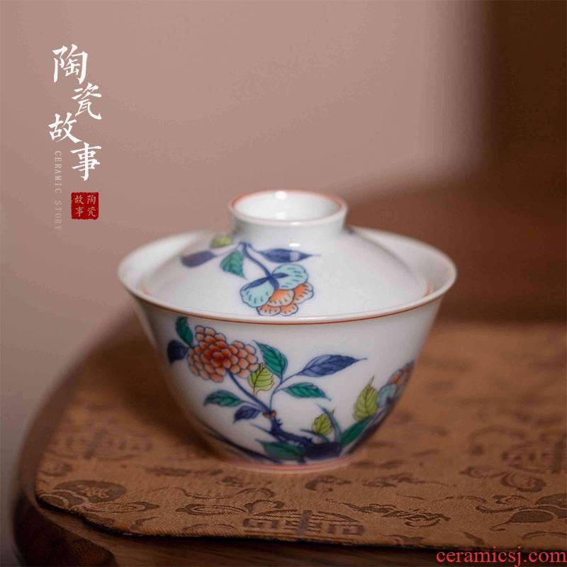 High - end checking hand - made ceramic story town tureen three tureen single bucket color taihu flowers tureen