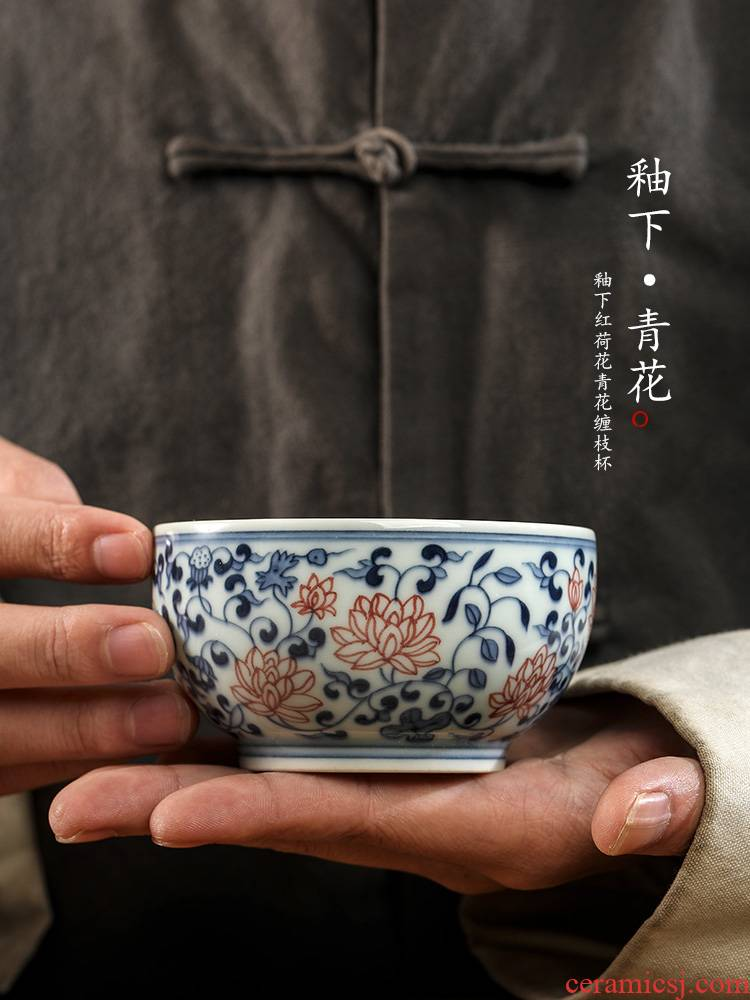 The Blue hand - made kung fu tea master cup single CPU jingdezhen pure manual wind restoring ancient ways the lotus flower ceramic cups only