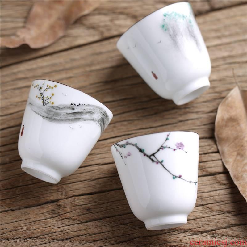 Qiao mu QGZ household hand - made scenery white porcelain tea tea cup master cup thin ceramic kung fu tea cups