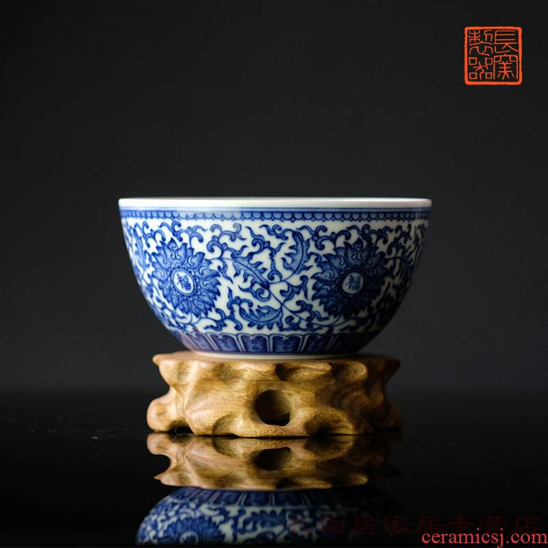 Offered home - cooked hand - made porcelain bound in the lotus flower everyone lines cylinder cups of jingdezhen ceramic tea cup tea bowl