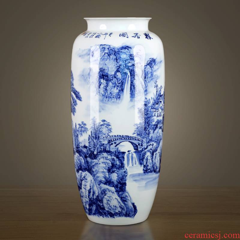 Jingdezhen ceramics hand - made of blue and white porcelain vase furnishing articles of new Chinese style living room home TV ark adornment arranging flowers