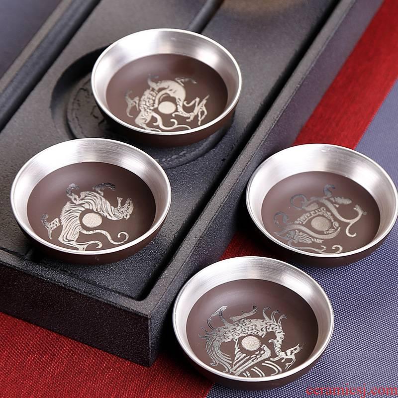 Tasted silver gilding little violet arenaceous kung fu tea tea cup home master cup sample tea cup single cup tea light ceramic cup