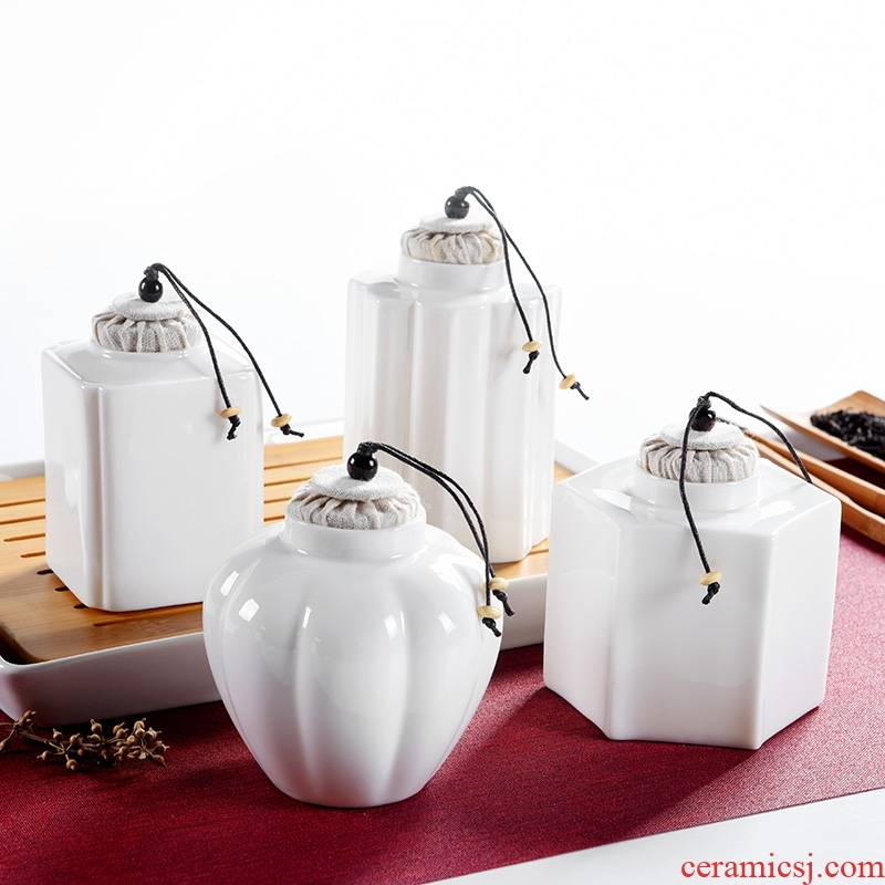 Qiao mu white porcelain tea pot kung fu tea set ceramic seal tank size accessories household storage tanks