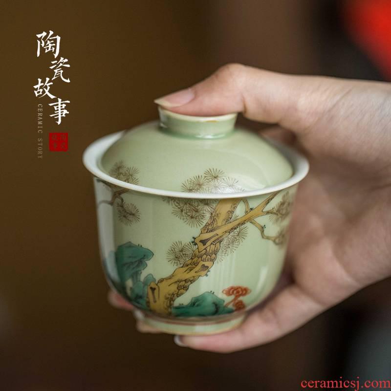 High - end checking hand - made ceramic story town tureen three tureen single pea green glaze not loose tureen