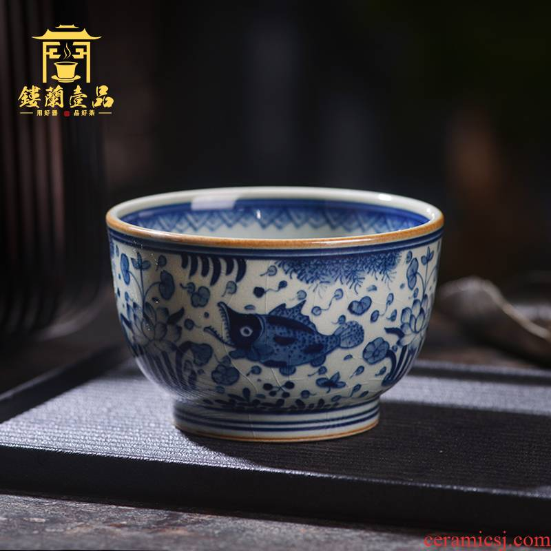 Jingdezhen ceramic hand - made all old clay on mackerel algal lines master cup large tea cup single cup bowl