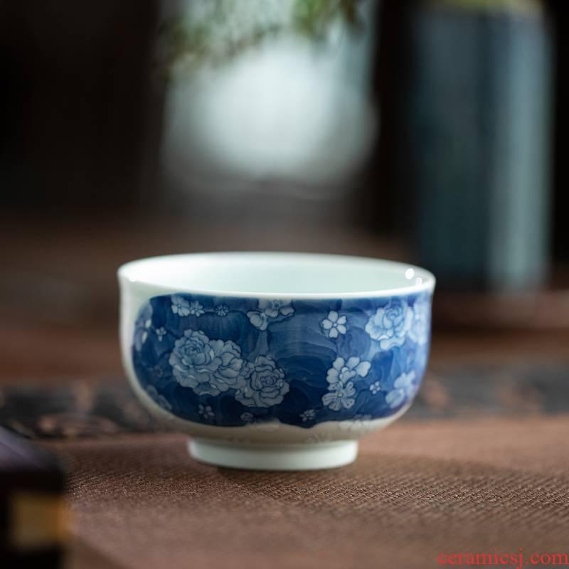 Stimulation Qin Qiuyan blue a flower RuYiBei jingdezhen manual master cup single CPU ceramic cups sample tea cup