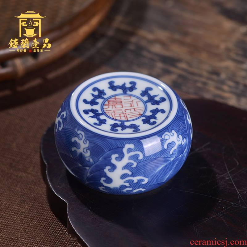 Jingdezhen ceramic blue and white wing by jia fu water lines cover all hand - made buy small cup mat cup tureen paperweight