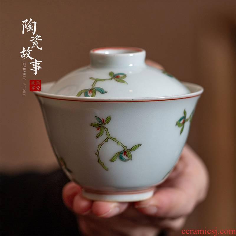High - end checking hand - made ceramic story town tureen three tureen single jingdezhen pure hand - made tureen