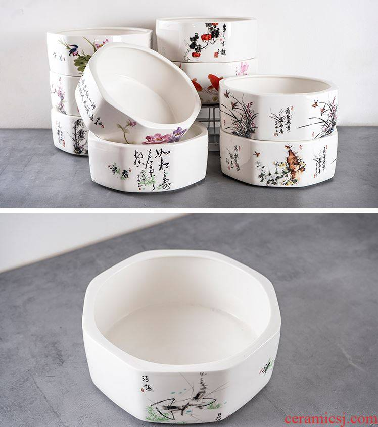 Refers to flower pot without hole, flowerpot copper money plant grass bowl lotus pond lily hydroponic plant pot pottery meaty hand draw pot