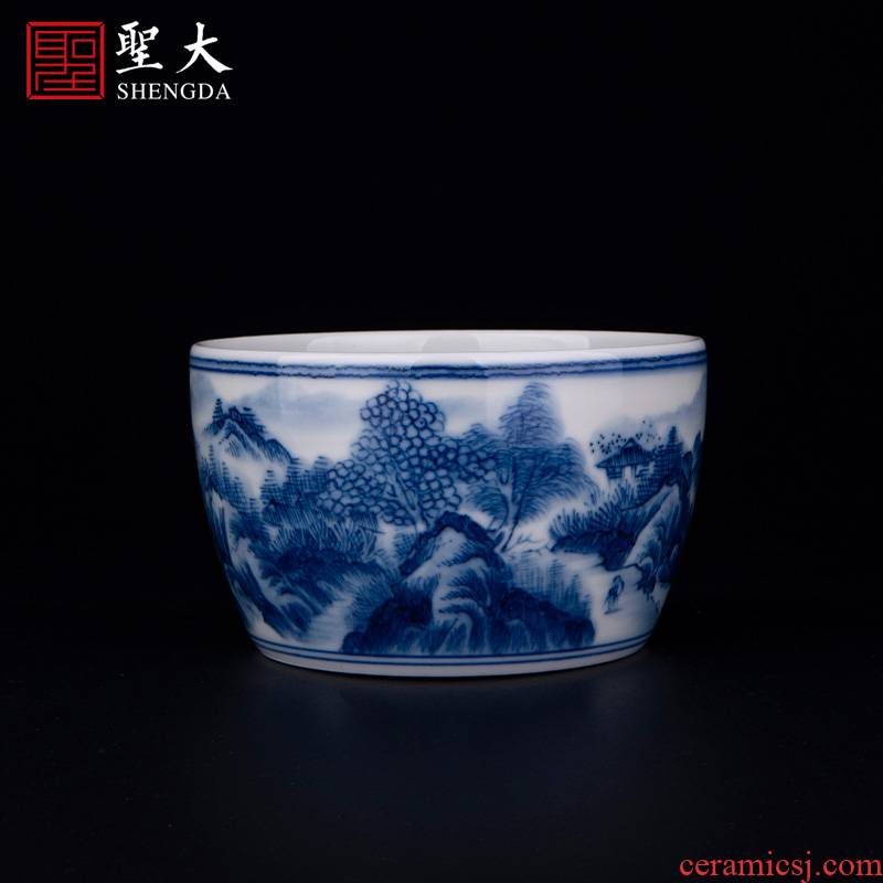 """Holy big blue and white """"castle peak MuYuan masters cup of jingdezhen ceramic checking tea sample tea cup kung fu tea cups"""