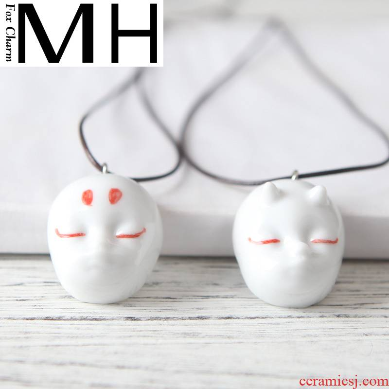 Son of the big Chinese flowering crabapple running with necklace ghost mask ceramic pendant long hang around couples jewelry by hand