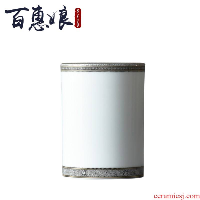 (niang jingdezhen hand - made white paint brush pot ink in the heavy industry pattern