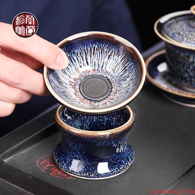 Retro ceramic slip through the filter leakage creative tea filter kung fu tea sets spare parts tea every cup of jingdezhen