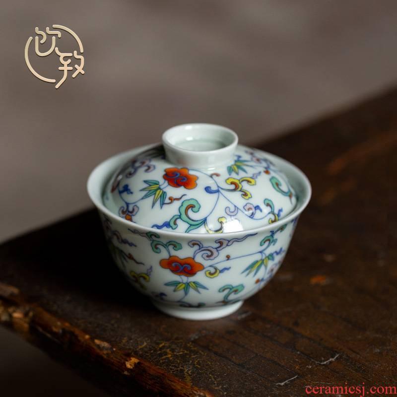 To high - end small tureen kung fu tea tea drinks per individual Chinese glair retro jingdezhen ceramic cups