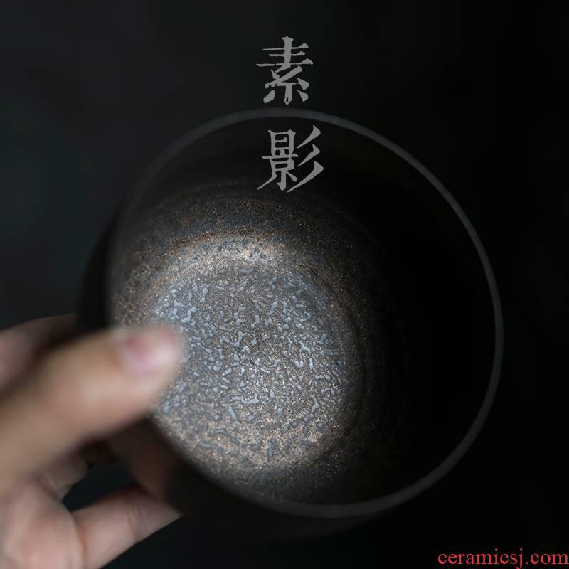 Qiao mu gold tea to wash to the small cup washing coarse ceramic gold bowl dross barrels of kung fu tea zero PeiJian water by hand