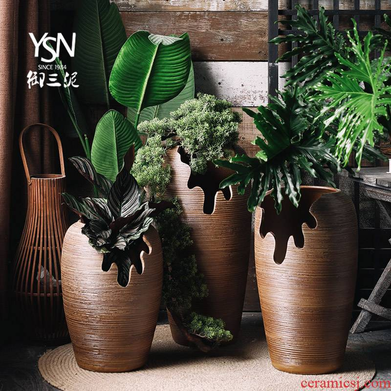 Royal three mud open fissure abnormity fleshy expressions using ground brown thread flowerpot old running the basin furnishing articles ceramic vase landing
