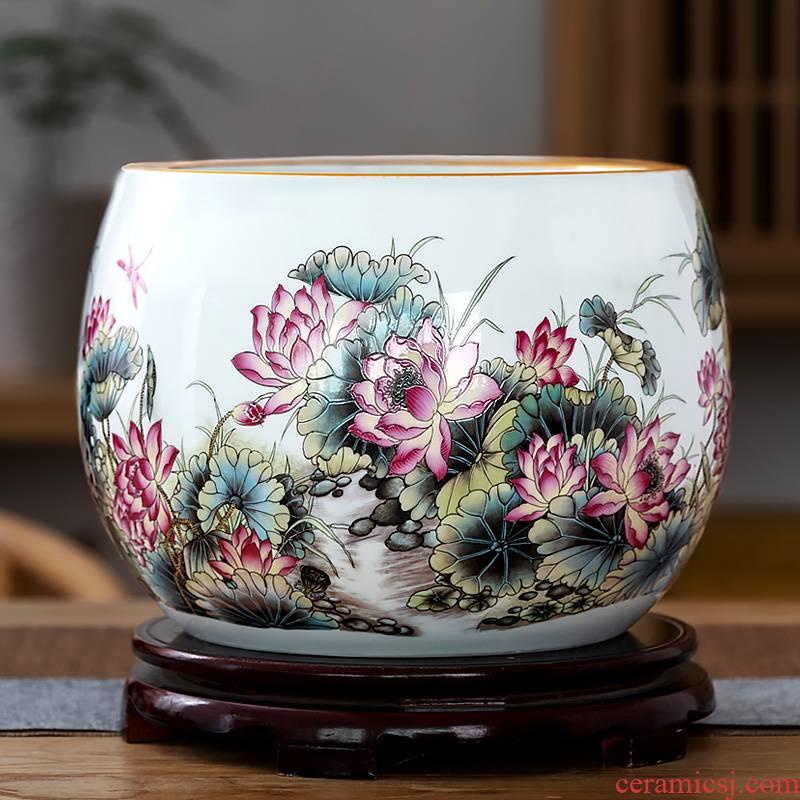 Creative ceramic goldfish desktop furnishing articles home sitting room circulation aquarium fish bowl lotus lotus cylinder