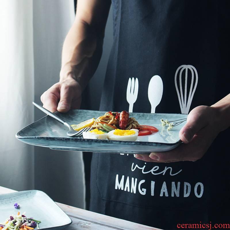 European creative combination square plate tableware retro deep plate ceramic household square plate of western steak plate
