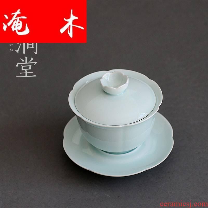 Submerged wood tureen large ceramic kung fu tea cup tea bowl of jingdezhen shadow celadon hand cut three to cover