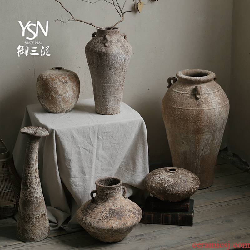 Royal three clay vase coarse pottery wabi-sabi wind restoring ancient ways the home stay facility new Chinese ceramic POTS dry flower pot home furnishing articles