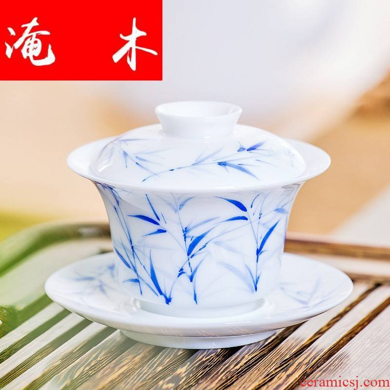 Submerged wood white porcelain tea tureen three to great tea bowl large kung fu in ancient Chinese hand - made teacup home worship