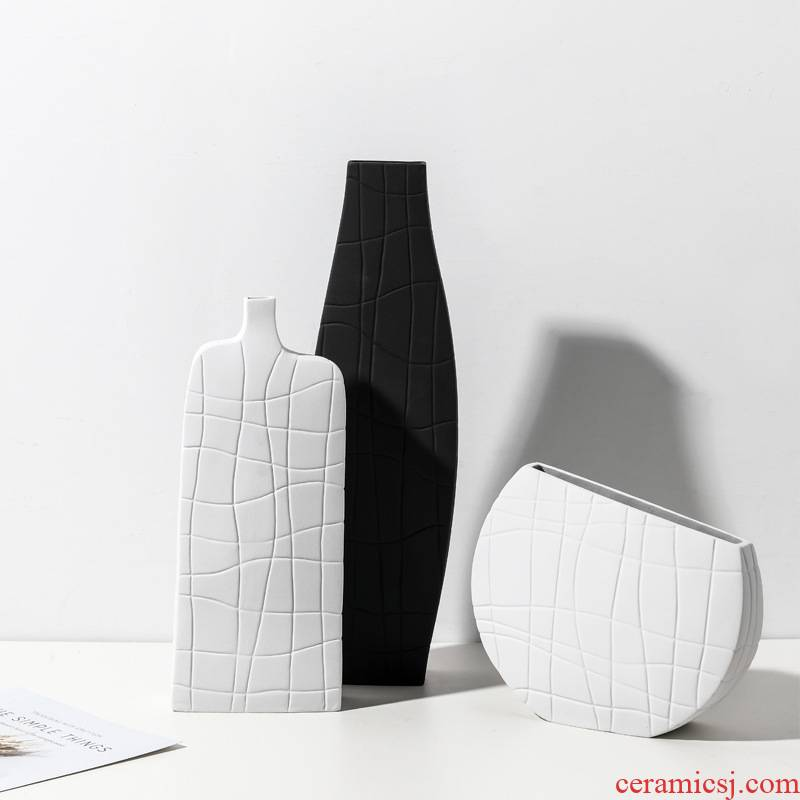 Scandinavian minimalist frosted glass vases furnishing articles creative ceramic patterns plank house porch flower arranging, black and white household act the role ofing is tasted