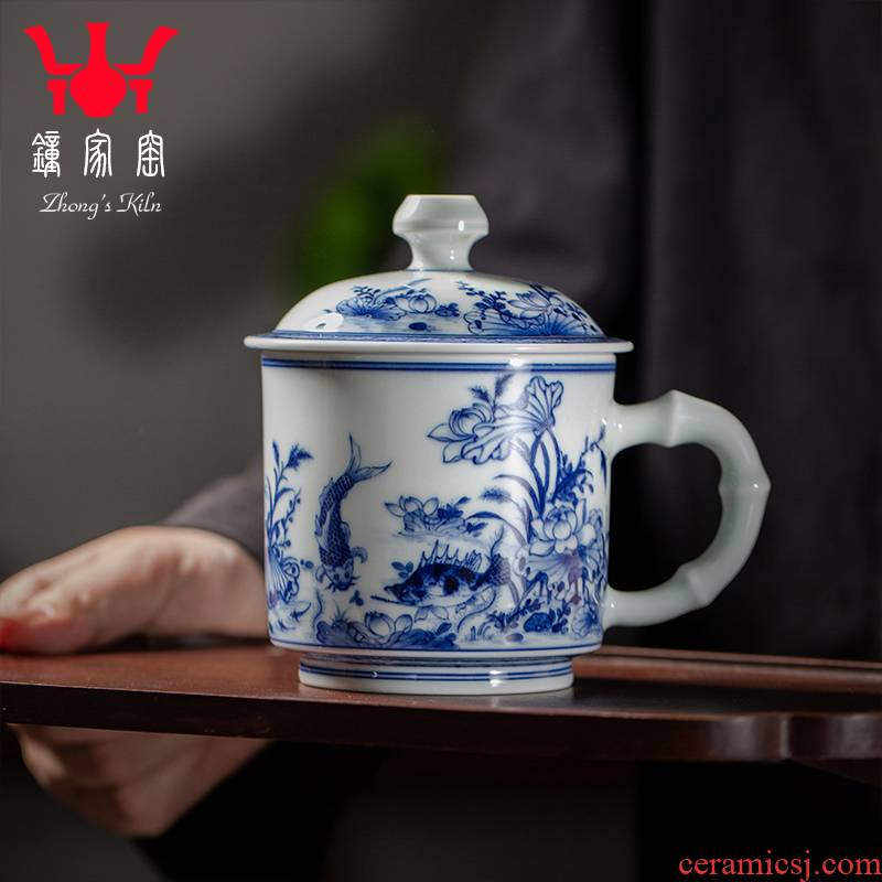 Clock home office cup up with jingdezhen ceramic cup high - grade blue hand - made with cover cup tea cup men 's up