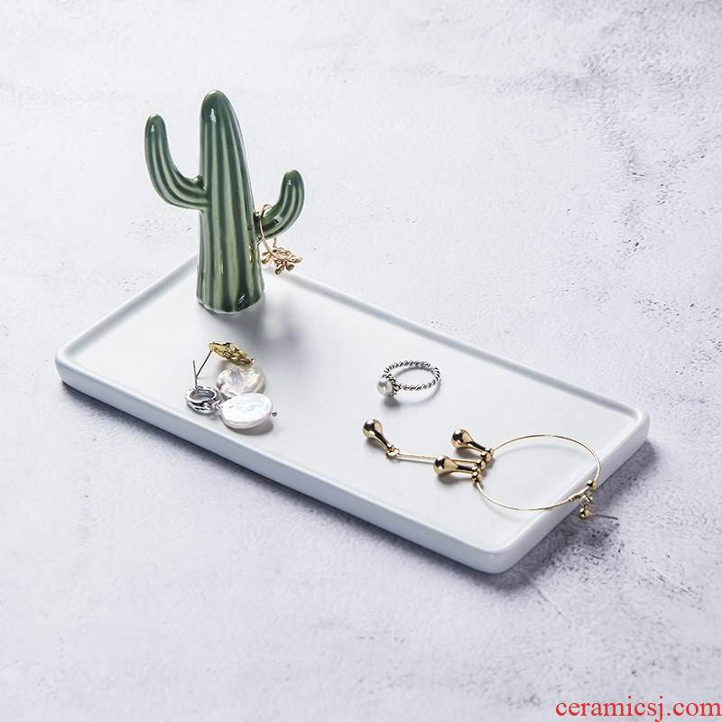 Ins Nordic style jewelry disc ring tray household ceramics receive plate cactus r disc furnishing articles