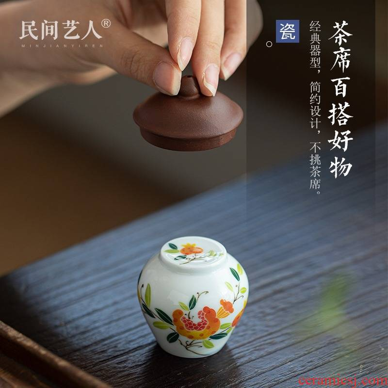 Jingdezhen ceramic all hand hand draw glaze colorful tea pier under the ceramic cover furnishing articles with kung fu tea tea zero