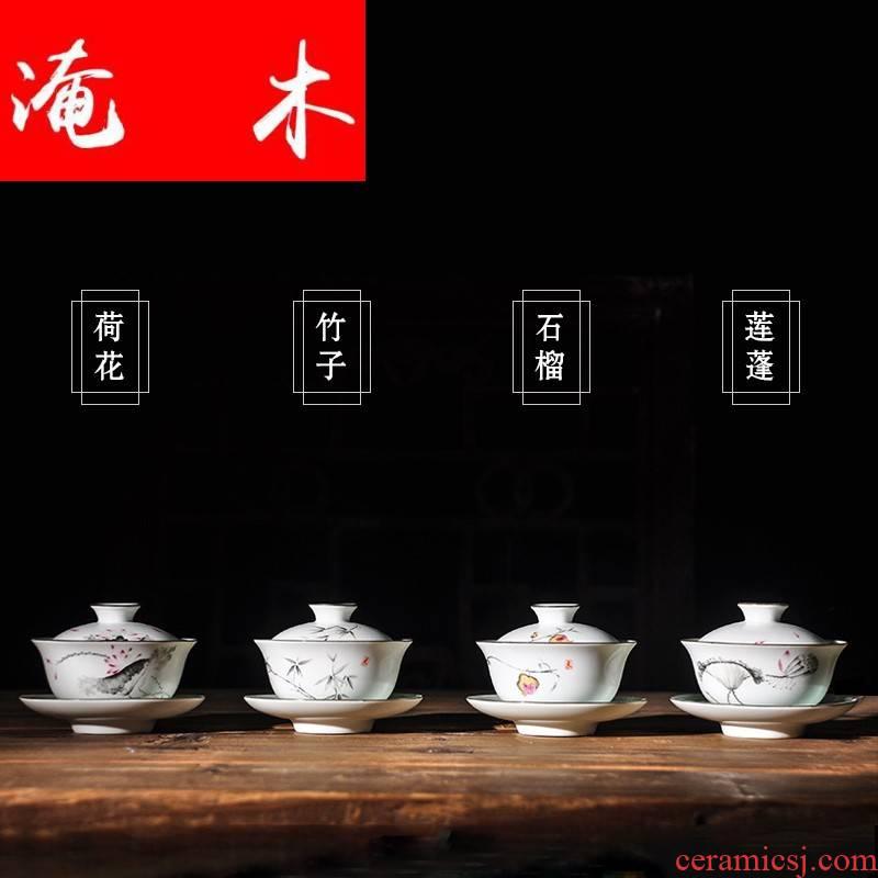 Submerged wood hand - made tea ware enamel tureen hand grasp kung fu tea set three fat white ceramic cup with tureen scene