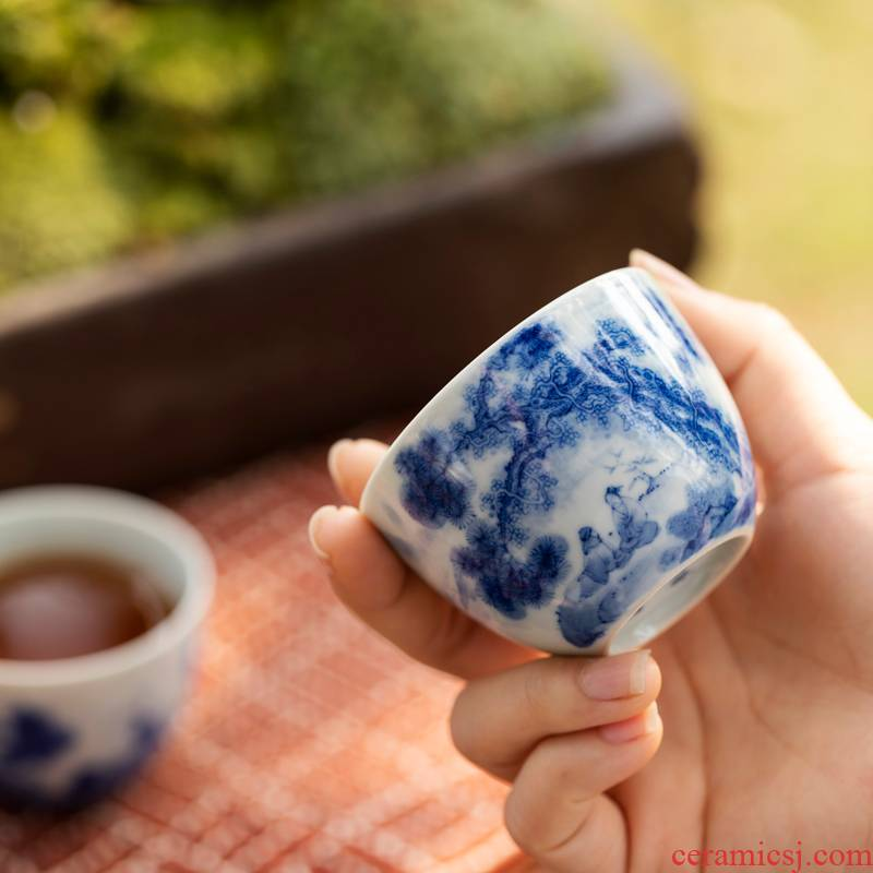 Lin Yin wind series flora of jingdezhen blue and white master cup single hand - made of CPU ceramic cups kung fu tea set