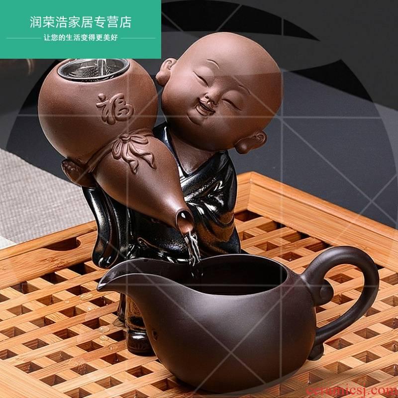 Creative young monk violet arenaceous) kung fu tea set, accessories ceramics monk tea bag mail filter net