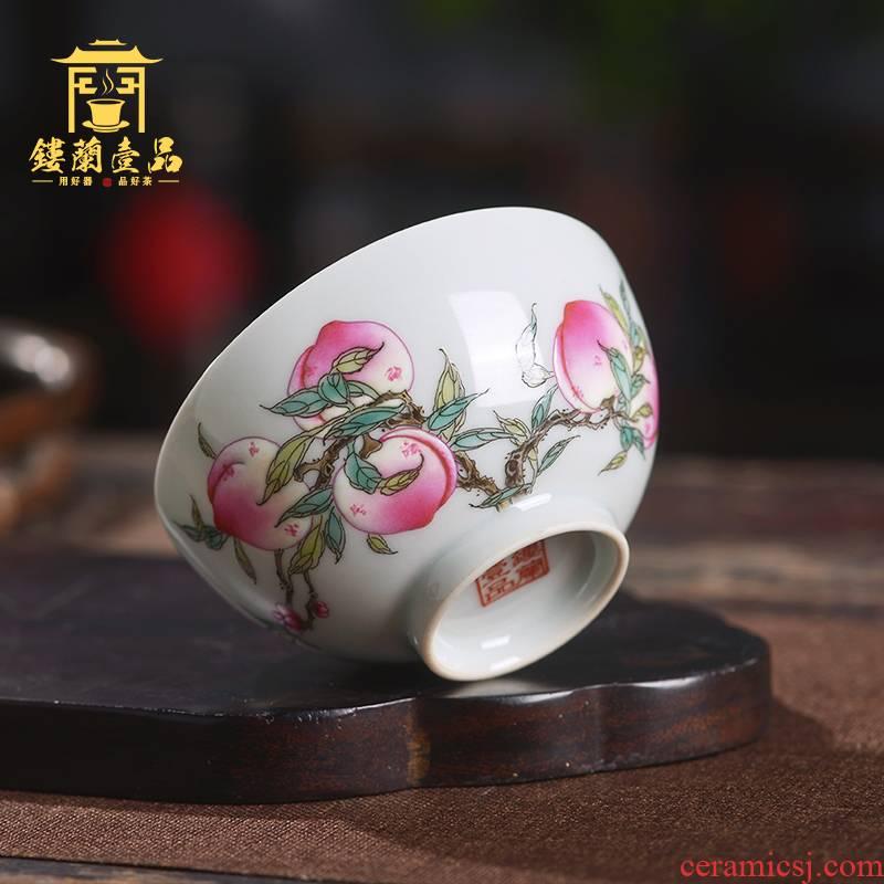 All hand - made pastel wufu peach masters cup of jingdezhen ceramics kung fu tea cup tea cup sample tea cup